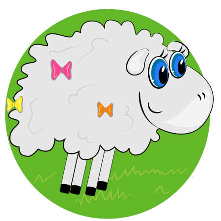 cartoon sheep on grass illustration. mammal animal  Vector