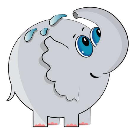 cartoon elephant bath. wild animal illustration Stock Vector - 13110730
