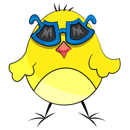 animal domestic character. chicken bird with sunglasses Vector