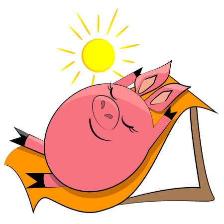 cartoon pig on beach. animal sunbathing illustration Stock Vector - 13110729