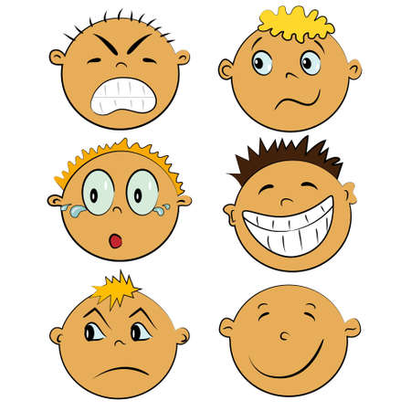children faces set. people imotions collection Vector