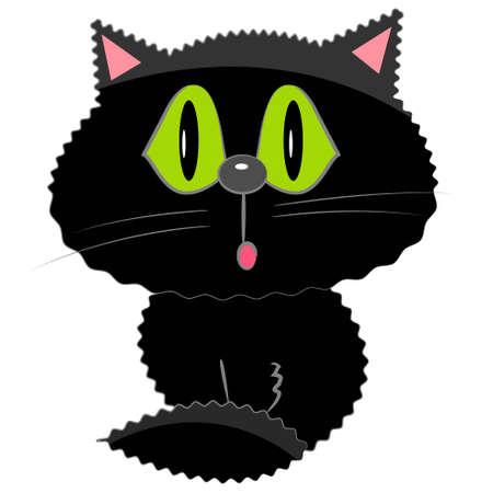 cartoon poes: zwarte kat icoon. cartoon huisdier illustratie