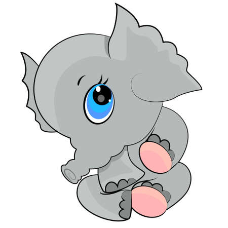 elephant baby icon. cartoon wild animal illustration Vector