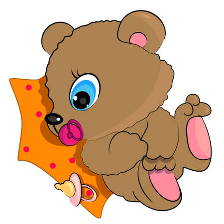 teddy bear baby illustration. wild animal icon Vector