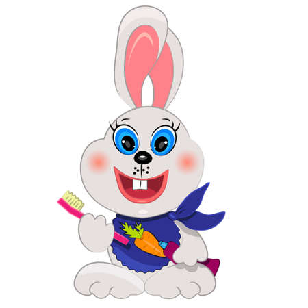 bunny baby cleaning teeth. cartoon animal icon Vectores