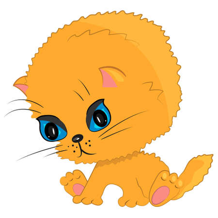 playing cat icon. cartoon pet kitten illustration