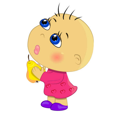 baby girl eating fruits illustration. cartoon little girl