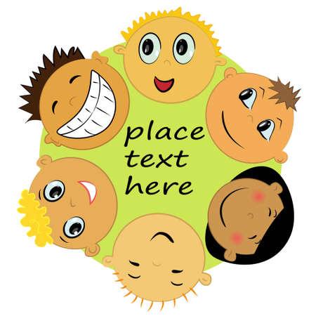 children faces cartoon icons Illustration