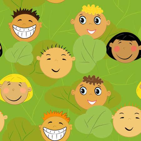 children faces background. friendship illustration  Vector