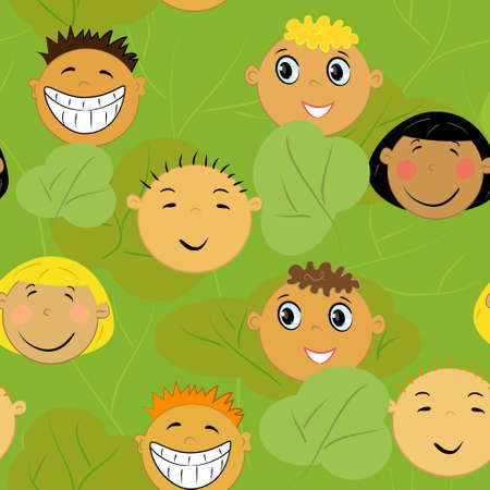 children faces background. friendship illustration