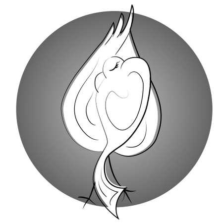 seduction: dancing bird icon. sexy dancer illustration  Illustration