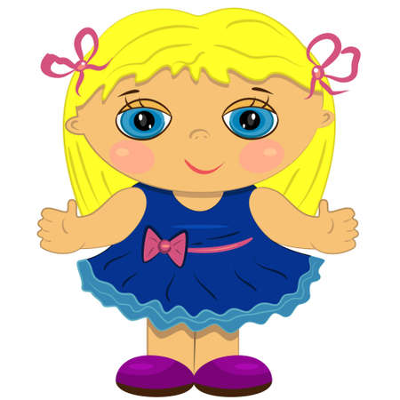 hair clip: clapping baby girl. cute doll illustration
