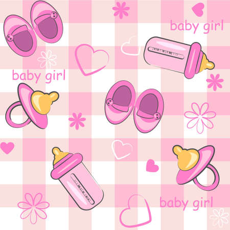 baby girl wrapping and background. icon seamless texture  Vector