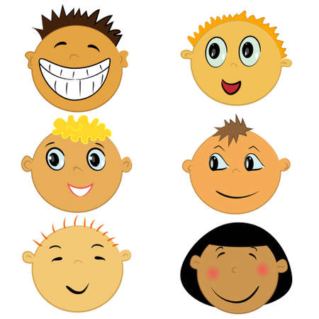 round face: children face icons. expression and emotion collection  Illustration