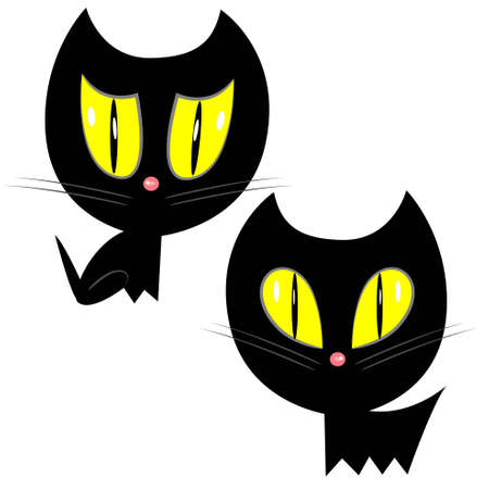 halloween cat icons. black cat set illustration  Vector