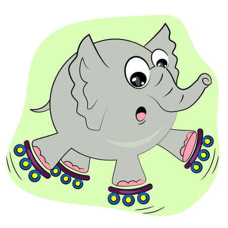 cartoon elephant skating on rollers  sport animal illustration