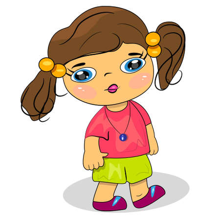 cartoon child walking illustration  little girl icon Stock Vector - 14233109