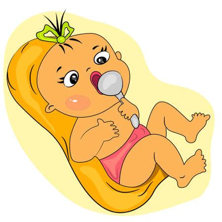 cartoon baby eating  little girl meal time  Illustration