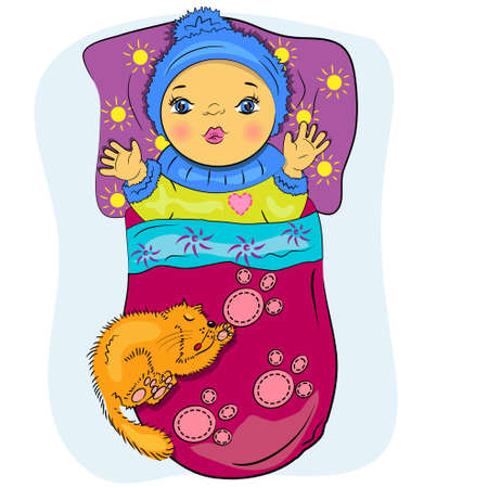 it s a boy: cartoon little baby in bed with pet  playing boy painting