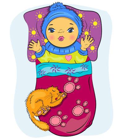 pequeña caricatura bebé en la cama con la pintura del animal doméstico niño jugando
