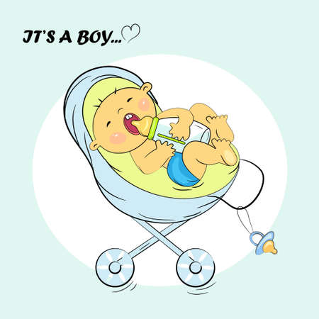 baby boy announcement card  it s a boy illustration Stock Vector - 14233122