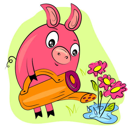 piggy gardener watering flowers  farmer hobby painting  Vector