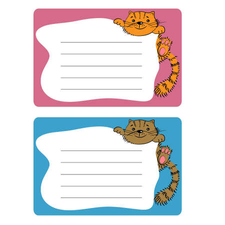 cartoon sticky tags with cat  wall paper sheets  Illustration