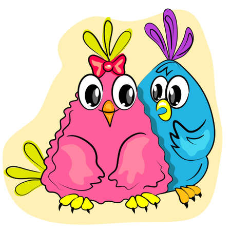 valentines day romantic card. couple of birds in love Vector
