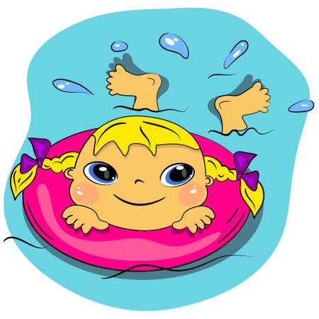 little girl bath: cartoon swimming girl in sea.summer beach vacation  Illustration