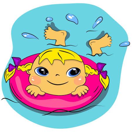 ni�as ba�andose: ni�a de dibujos animados de nataci�n en sea.summer vacaciones en la playa
