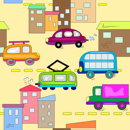 passanger: car in city seamless background. auto vehicle wallpaper  Illustration