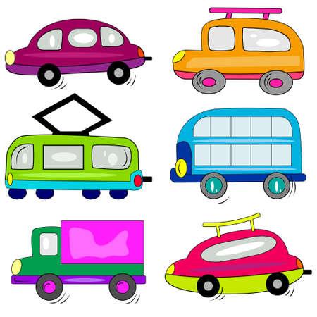 bus parking: cartoon car auto icons set. transport vehicle collection Illustration