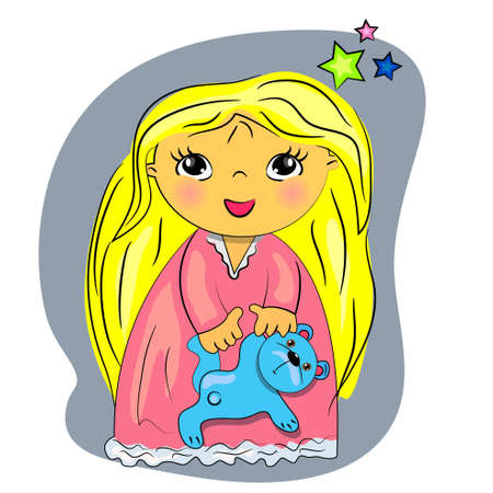 little girl bed time. cartoon child playing with toy  Vector
