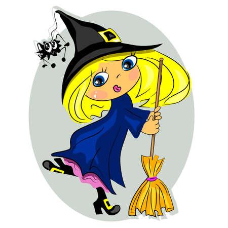 sorci�re halloween: danse de sorci�re Halloween avec un balai. chapeau noir avec araign�e