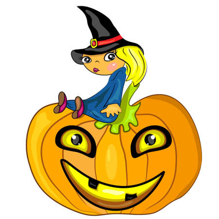 halloween witch sitting on pumpkin. jack lantern card  Vector