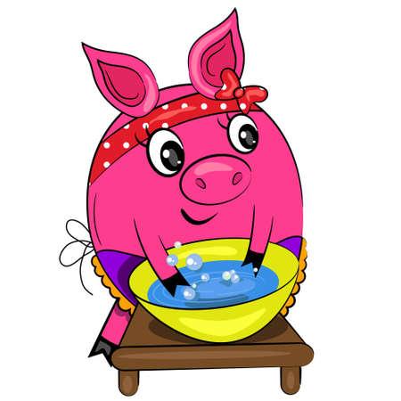 cocina limpieza: lavado de dibujos animados de cerdo. ama de casa en la pintura de cocina