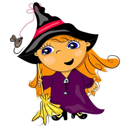 halloween witch holding broom. autumn holiday illustration