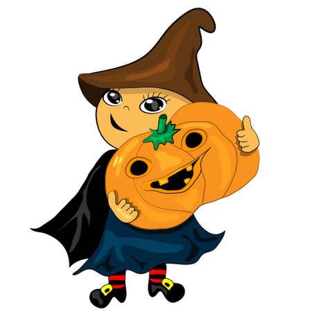 halloween party boy holding pumpkin. jack lantern illustration