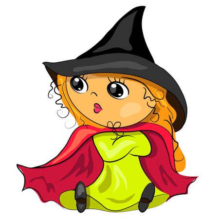 halloween witch in black hat cartoon image