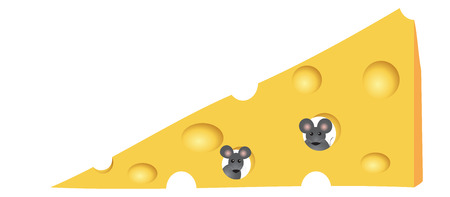 triangular eyes: Vector illustration. Mouse in cheese. Isolated on white background.