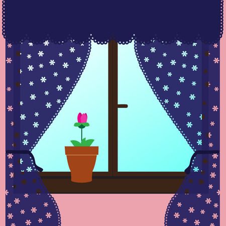 Vector illustration. Fower on a windowsill with patterned curtains. Vector