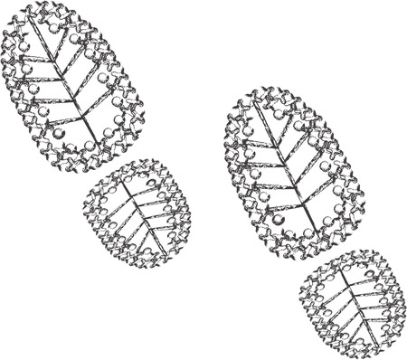 muddy track: Vector illustration. Icon dirty shoe marks. Isolated on white background. Dirty shoe human footprints. Illustration