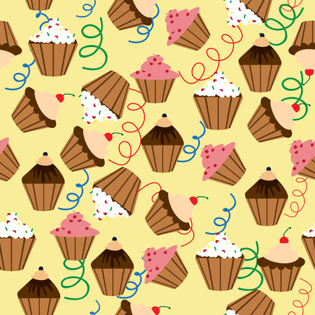Seamless pattern. Sweet cupcakes with cream. Vector