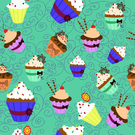 sprinkling: Vector illustration. Seamless pattern. Sweet cupcakes with cream.