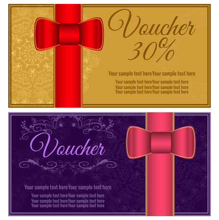 fluted: Vector illustration. Template gift card. Background design usable for gift voucher, coupon, invitation, certificate, diploma, ticket etc.