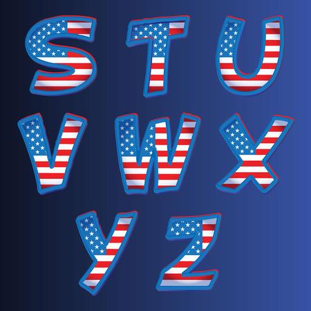 USA alphabet on a blue background vector Vector