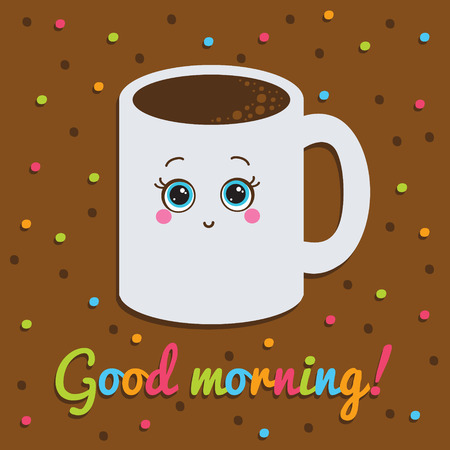 Card  Smiling with a cup of coffee  Background with dots  Vector