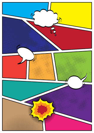 Comics popart style blank layout template background vector illustration Illustration