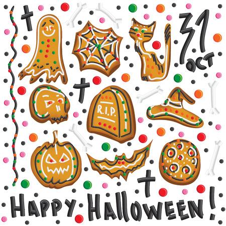 bułka maślana: Cute Halloween pliki cookie Clipart elementów i ikony
