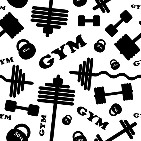 salubrity: Fitness healthy lifestyle pattern background with dumbbell barbell weights gym